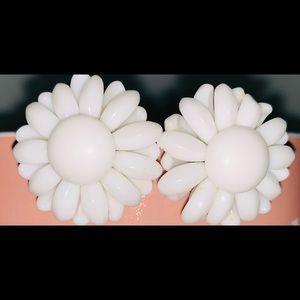 Vintage White Flower Clip-On Earrings